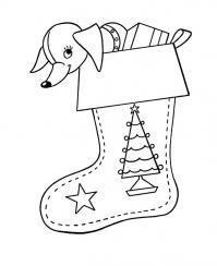 Чулки для подарков с елочкой Раскраски зима распечатать бесплатно