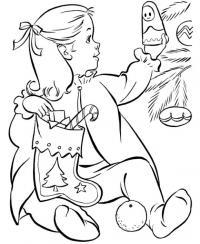 Девочка с носочком для подарков Раскраски зима распечатать бесплатно