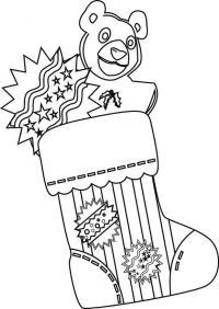 Рождественские носки для подарков с медвежонком Детские раскраски зима распечатать