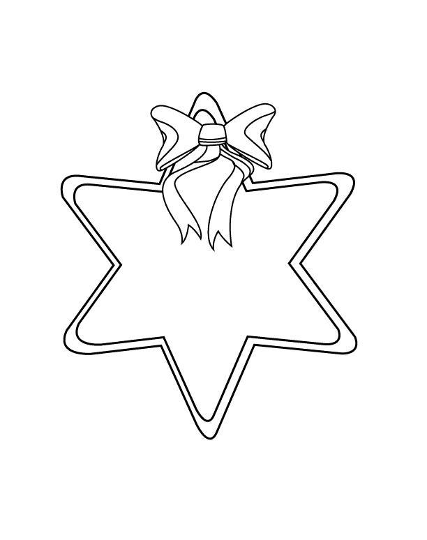 Игрушка звезда новогодняя с бантиком Рисунок раскраска на зимнюю тему