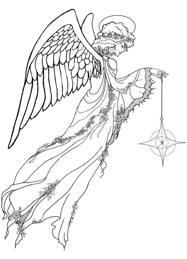 Ангел со звездой Детские раскраски зима распечатать
