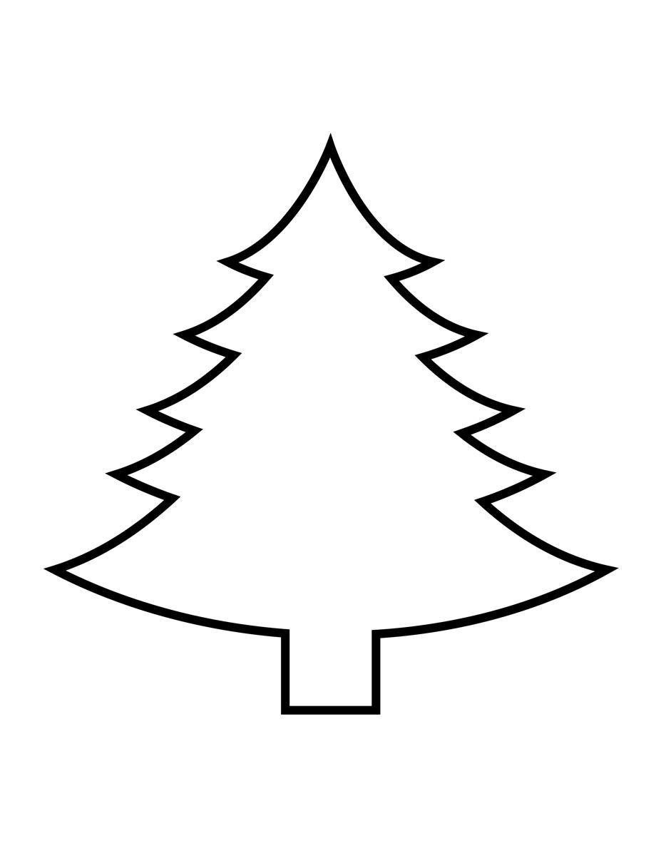 Трафарет елочки Раскраски на тему зима