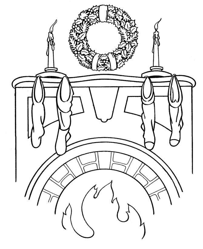 Новогодний рождественский венок на камине Детские раскраски зима распечатать