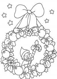 Новогодний рождественский венок с эльфом и звездочками Детские раскраски зима распечатать