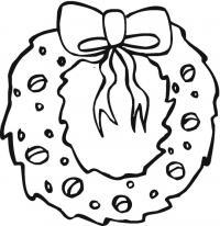 Новогодний рождественский венок Зимние рисунки раскраски