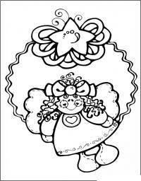 Новогодний венок с куклой Зимние рисунки раскраски
