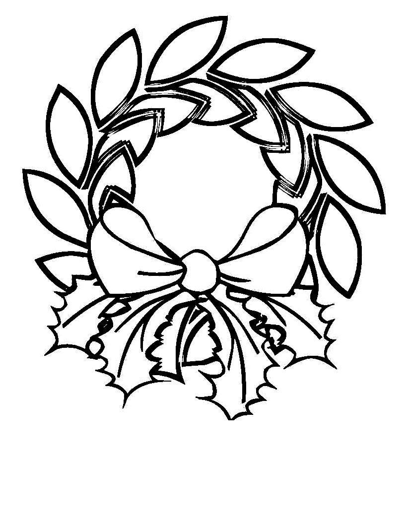 Новогодний рождественский венок из листьев с бантиком Зимние рисунки раскраски