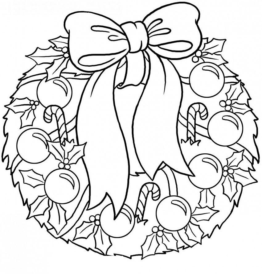 Новогодний венок с шарами и конфетами Зимние рисунки раскраски