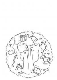 Новогодний рождественский венок с игрушками Зимние рисунки раскраски