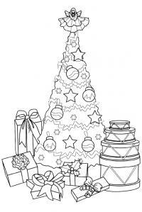 Елка с подарками и ангелом на макушке Детские раскраски зима распечатать