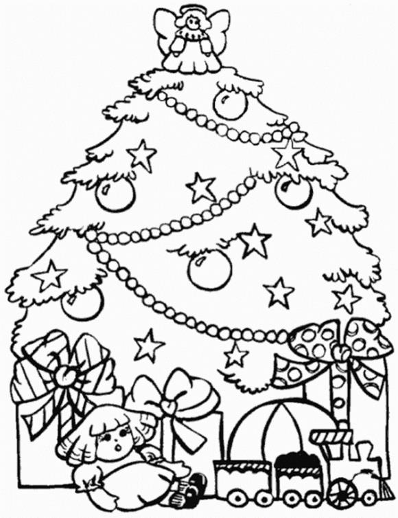 Елка с подарками и ангелом на макушке, кукла и поезд Детские раскраски зима распечатать