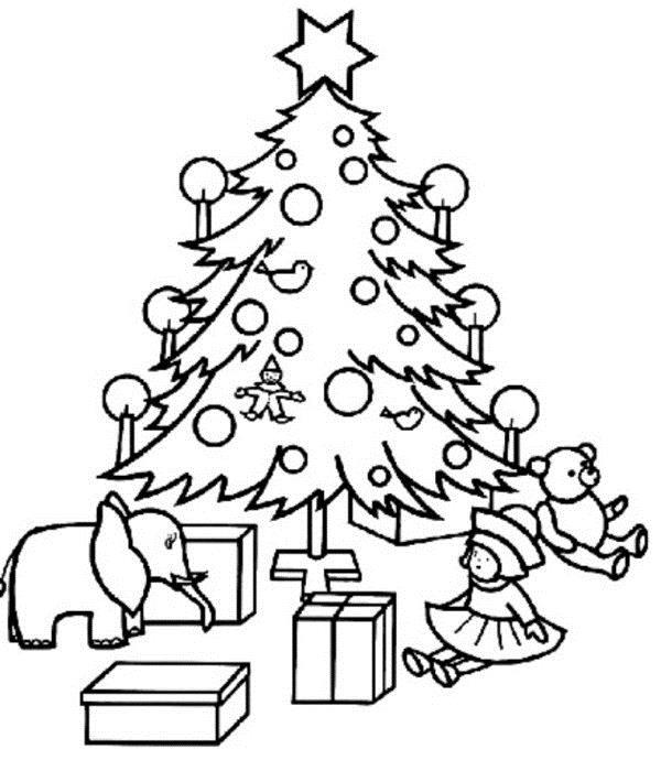 Елка с подарками, слон, кукла, плюшевый мимшка Детские раскраски зима распечатать