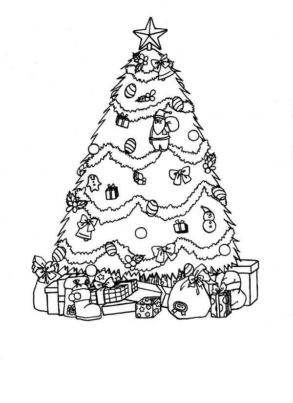 Елка с подарками для плакатов Раскраски зима скачать бесплатно
