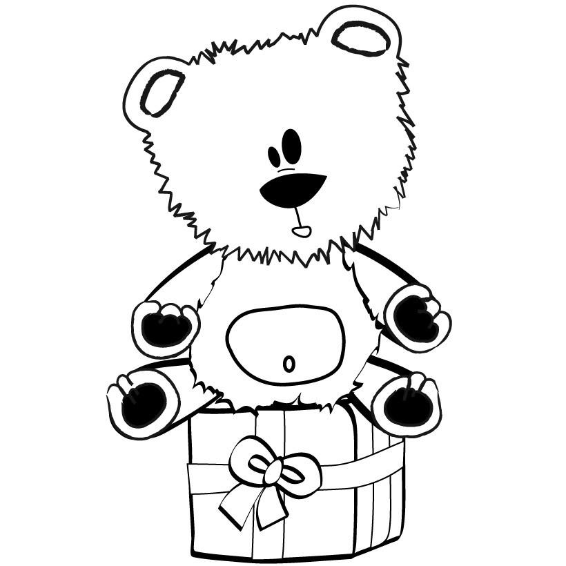 Плюшевый мишка в подарок Раскраска сказочная зима