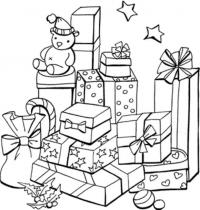 Подарки в красивых упаковках Раскраска сказочная зима