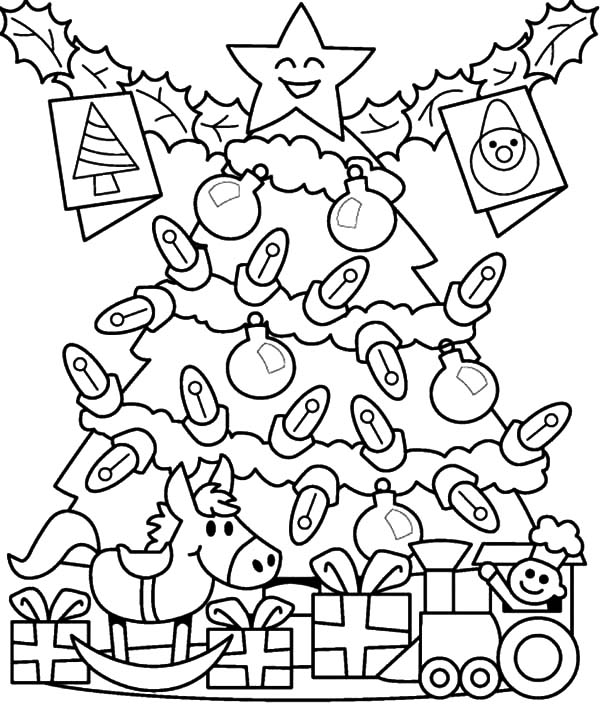 Елка с подарками и светящимися лампачками Раскраски зимушка зима