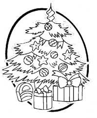 Елка с подарками в круглой рамке Раскраски зимушка зима