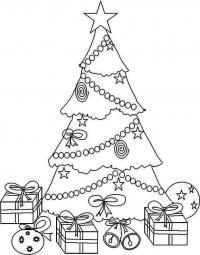 Елка с подарками украшенная звездами Раскраски зимушка зима