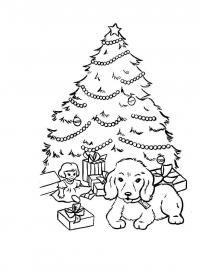 Маленькая елка с подарками, кукла Детские раскраски зима распечатать