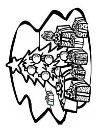 Елка с подарками с толстым контуром Детские раскраски зима распечатать