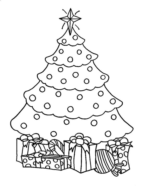 Елка с подарками украшенная множеством шариков Раскраски зимушка зима