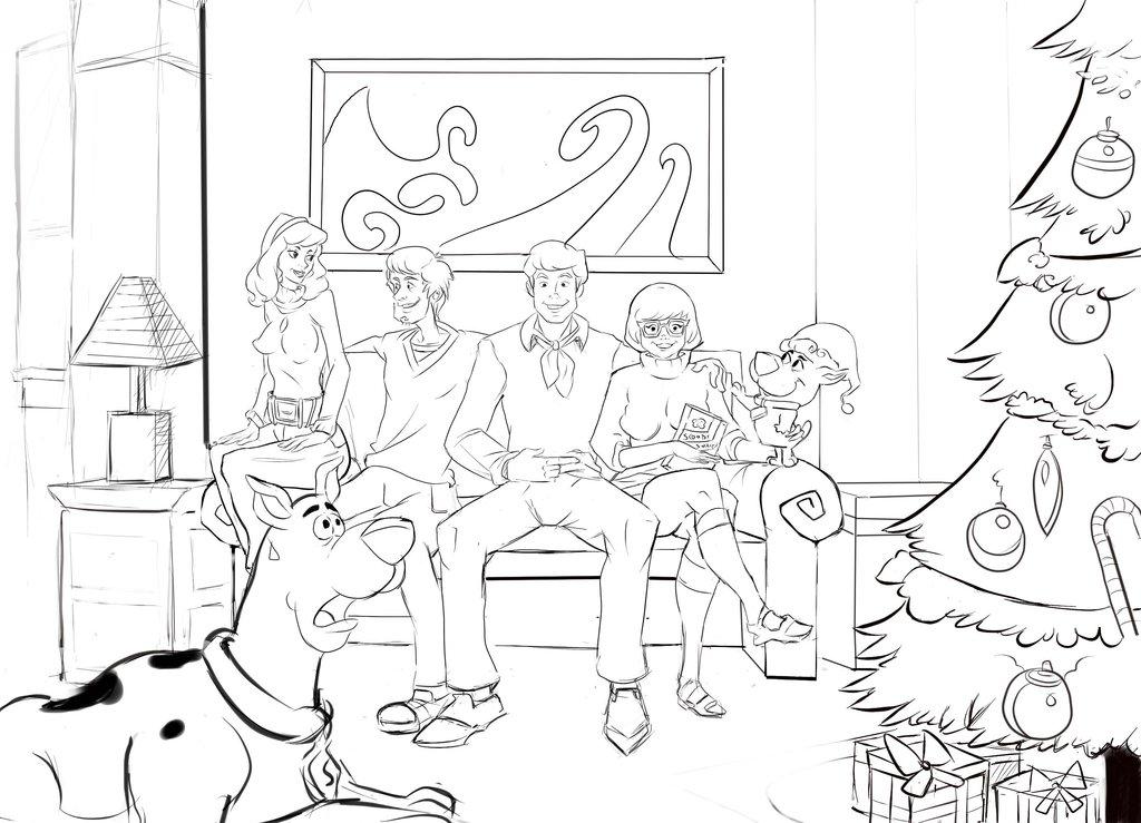 Скубиду и компания празднуют новый год Детские раскраски зима распечатать