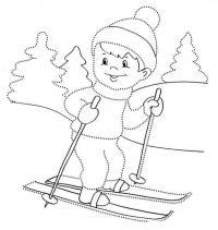 Мальчик на лыжах Зимние рисунки раскраски