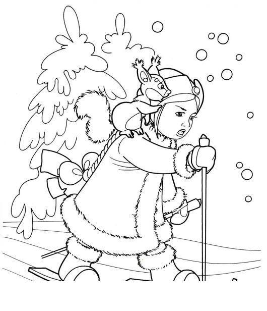Пробираясь сквозь лес Детские раскраски зима распечатать