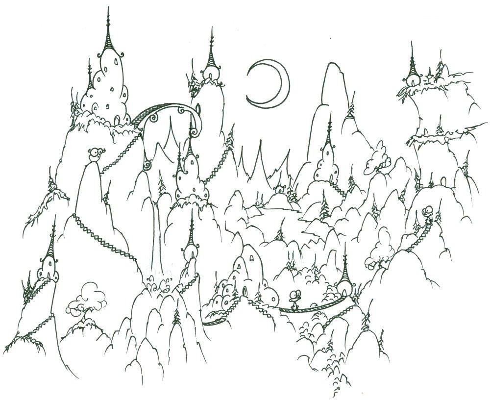 Зима в лесу Рисунок раскраска на зимнюю тему