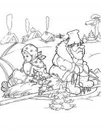 Зима в лесу Раскраска сказочная зима