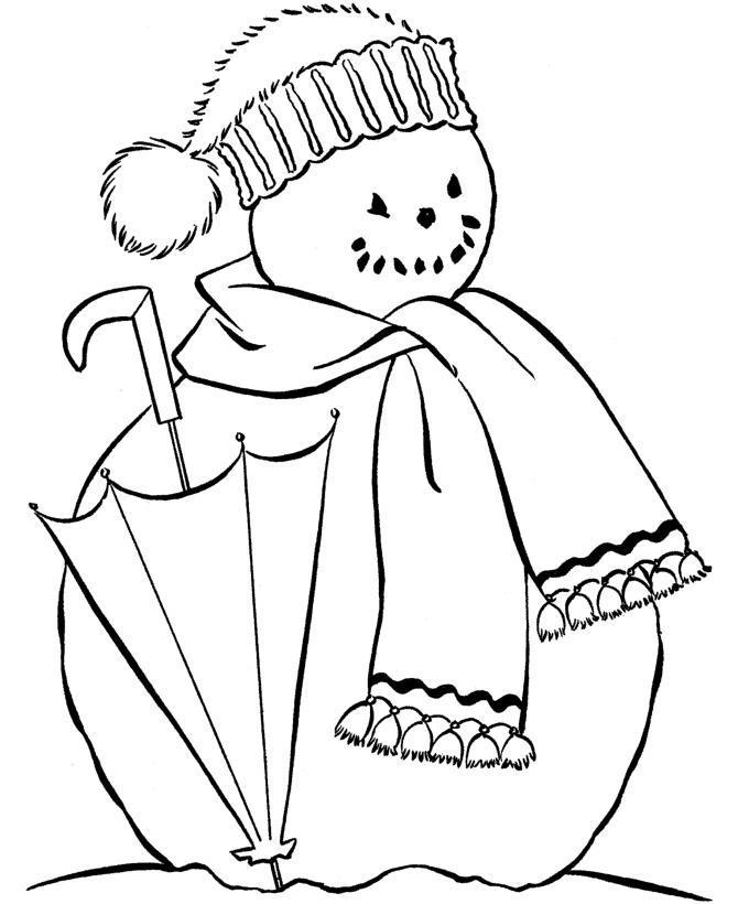 Снеговик с зонтом Рисунок раскраска на зимнюю тему