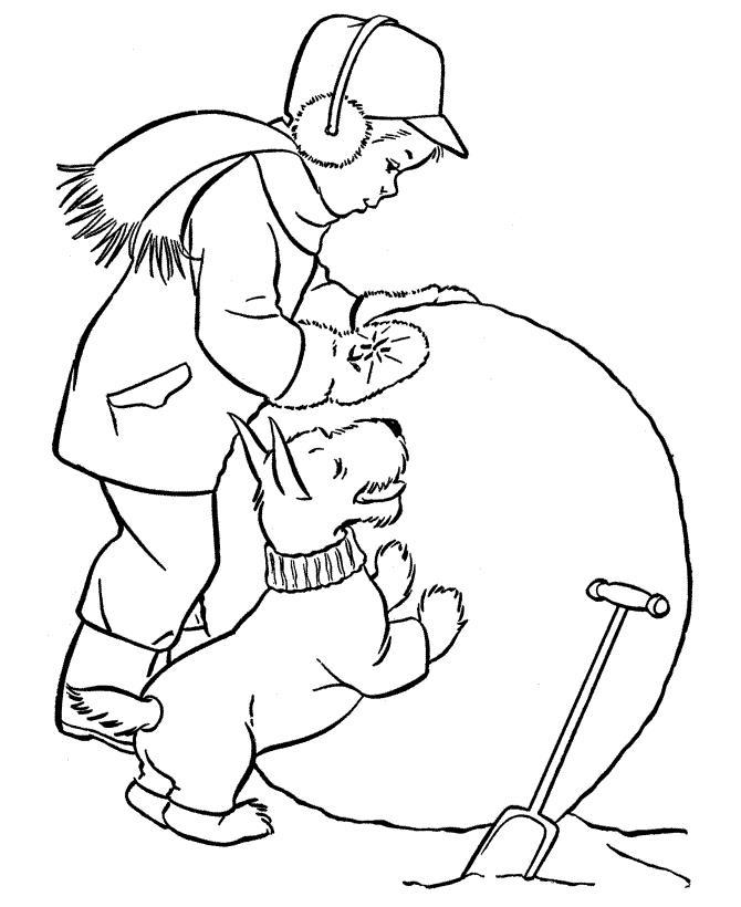 Мальчик с собакой лепят большой ком для снеговика Детские раскраски зима распечатать
