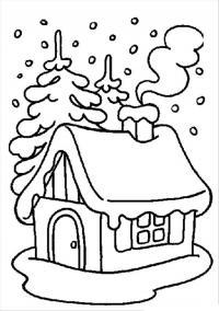 Избушка в лесу под падающим снегом Детские раскраски зима распечатать
