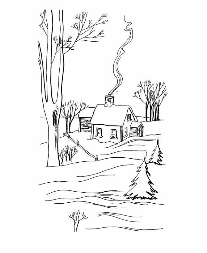 Одинокая избушка в снежном лесу Детские раскраски зима распечатать