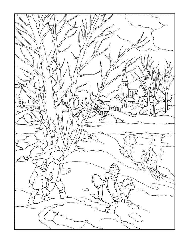 Дети играют возле речки Детские раскраски зима распечатать