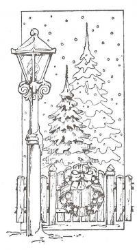 Две еллки за забором, рождественский венок на заборе, горящий фонарь возле забора, подающий снег Раскраска зима распечатать