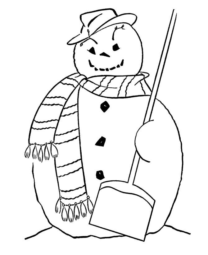 Большой снеговик слопатой Рисунок раскраска на зимнюю тему