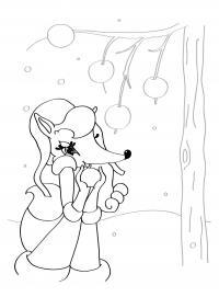 Лисичка мона Раскраска зима