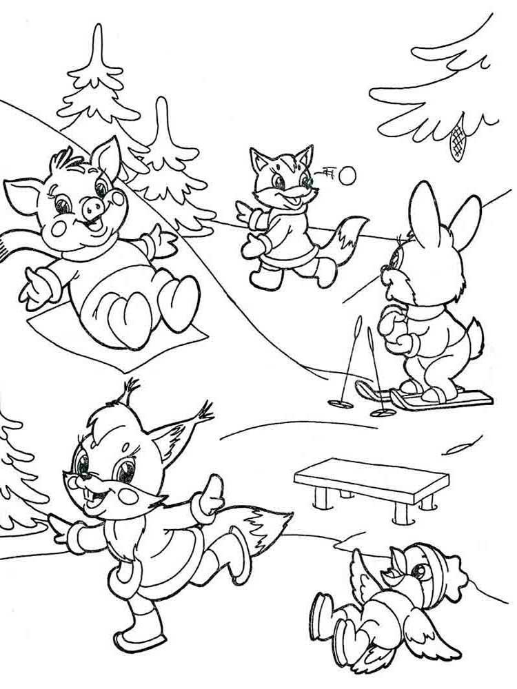Лиса играет с зайчиком в снежки Детские раскраски зима распечатать