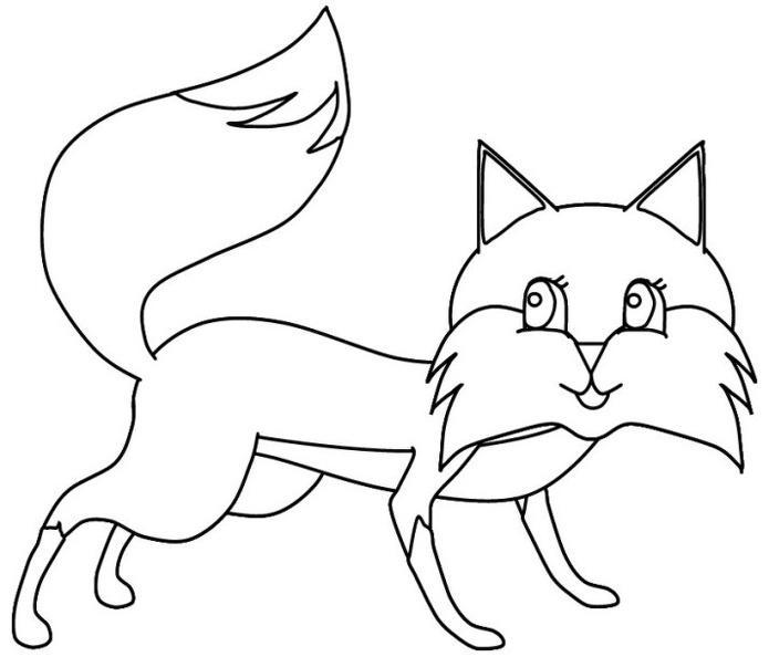 Хитрая лисичка с большими глазами Детские раскраски зима распечатать