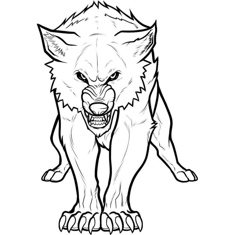 Разъяренный волк Раскраски про зиму для детей