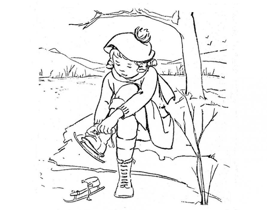 Каток Раскраски про зиму для детей