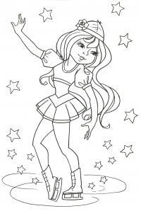 Девочка на катке в окружение звезд Детские раскраски зима распечатать