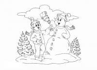 Мальчик забирает метлу у снеговика Детские раскраски зима распечатать