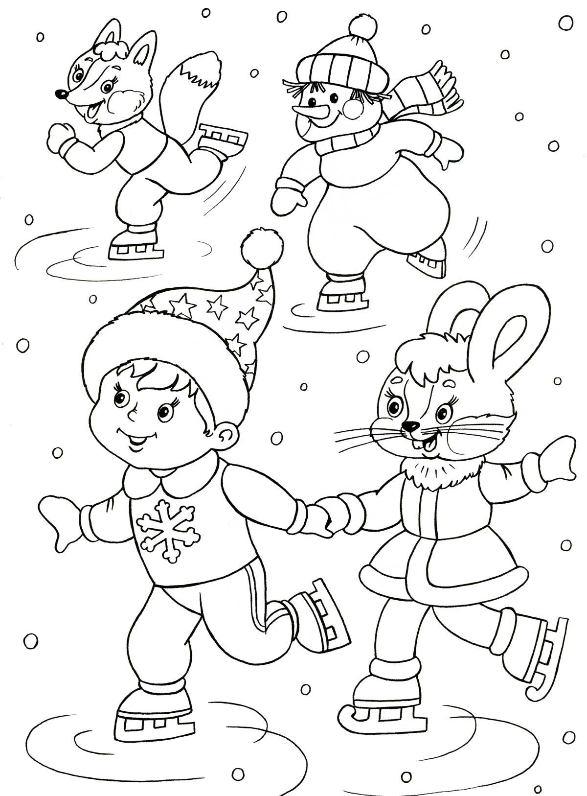 Мальчик с зайчишкой, снеговичек и лис Раскраски про зиму для детей