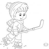 Игра в хоккей Детские раскраски зима распечатать