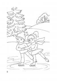 Парочка на катке Раскраски про зиму для детей