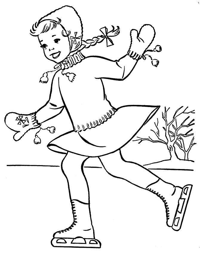 Девочка с косичками Детские раскраски зима распечатать