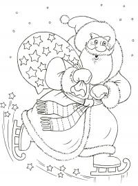Дед мороз с подарками Раскраски про зиму для детей