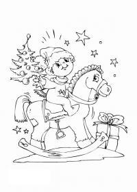 Малыш на лошадке Зимние рисунки раскраски